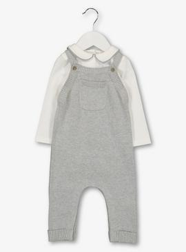 Grey Knitted Dungarees & Bodysuit