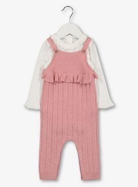 Pink Knitted Dungarees & Bodysuit