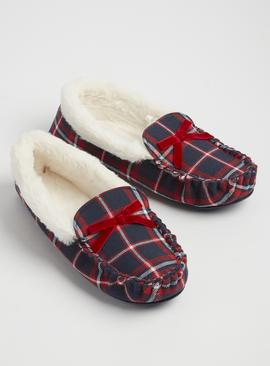 Multicoloured Check Moccasin Slippers