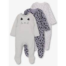 Multicoloured Cat Face Sleepsuits 3 Pack