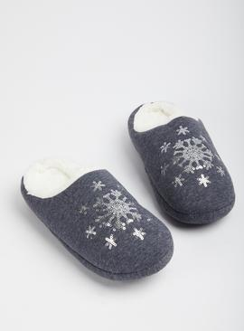 Charcoal Sequin Snowflake Mule Slippers