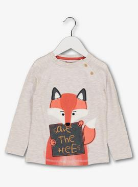Oatmeal Fox 'Save The Trees' Slogan Top