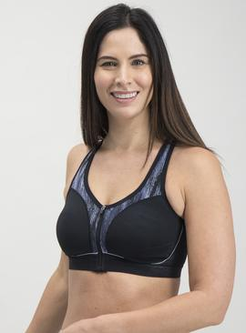 Active Black Waterfall Dot High Impact Bra