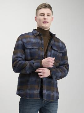 Navy & Brown Check Borg Lined Shirt Jacket