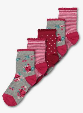 Berry Floral Spot & Stripe Sock 5 Pack