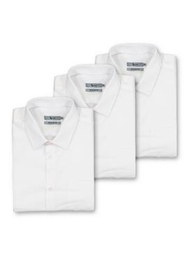 White Regular Fit Short Sleeve Easy Iron Shirts 3 Pack