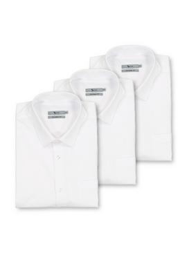White Tailored Fit Short Sleeve Easy Iron Shirts 3 Pack