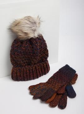 Multicoloured Ombre Hat & Gloves Set