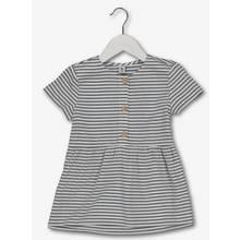 White & Grey Stripe Woven Top