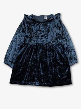 Navy Blue Velour Party Dress