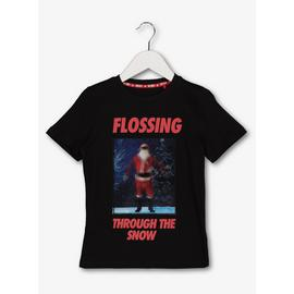 Christmas Black Lenticular Santa Flossing T-Shirt