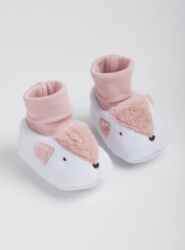 White & Pink Deer Sock Top Booties