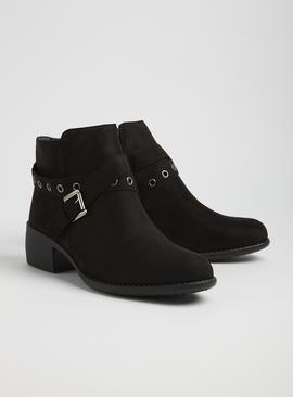 Spot On Black Buckle Strap Ankle Boots