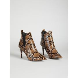 SPOT ON Brown Faux Snakeskin Boot