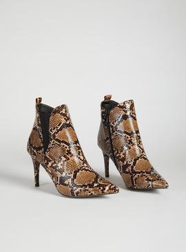 Online Exclusive Spot On Brown Faux Snakeskin Boot