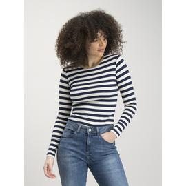 Navy & Cream Stripe Long Sleeve Top