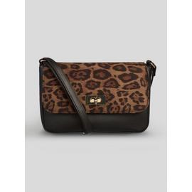 Black Texture & Leopard Print Cross-Body Bag - One Size