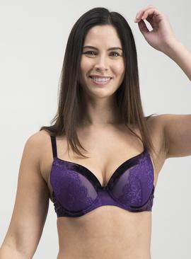 Purple Crushed Velvet Plunge Bra