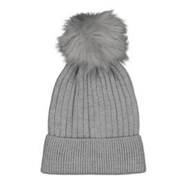 Grey Rib Knit Pom Pom Beanie - One Size
