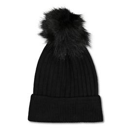 Black Rib Knit Pom Pom Beanie - One Size