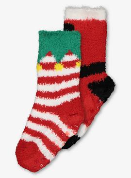 Christmas Red Elf & Santa Cosy Sock 2 Pack