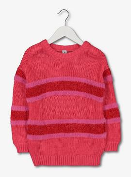 Pink & Red Striped Jumper