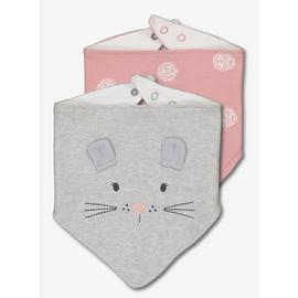 Grey & Pink Mouse Hanky Bibs 2 Pack - One Size