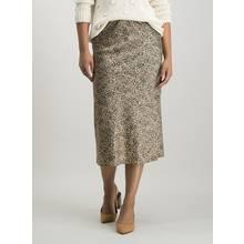 Tan & Black Abstract Print Satin Midi Skirt