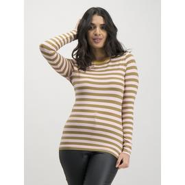 Pink & Khaki Stripe Luxe Long Sleeve Top