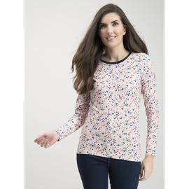 Pink Ditsy Floral Print Luxe Long Sleeve Top