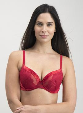 Red Crushed Velvet Plunge Bra