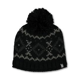 SOCKSHOP HEAT HOLDERS Black Fair Isle Knitted Beanie - One S
