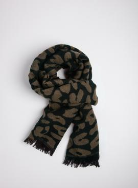 Brown & Black Animal Print Reversible Scarf - One Size