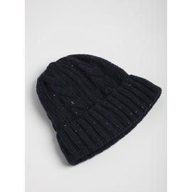 Navy Cable Knit Beanie Hat - One Size