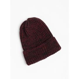 Red & Navy Marl Chunky Knit Beanie Hat - One Size