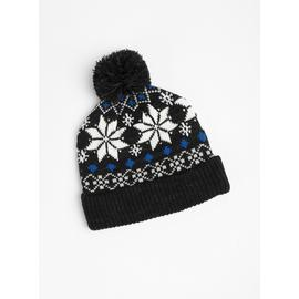 Charcoal Grey Fair Isle Knitted Beanie Hat - One Size
