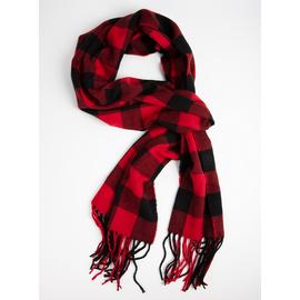 Black & Red Tartan Check Scarf - One Size