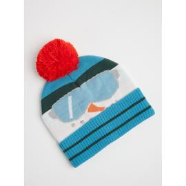 Blue Snowman Knitted Beanie Hat - One Size