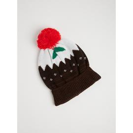 Christmas Pudding Brown Knitted Beanie Hat - One Size