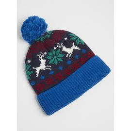 Multicoloured Fair Isle Pom-Pom Hat - One Size
