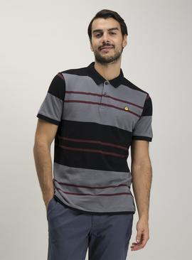 Black & Charcoal Stripe Polo Shirt