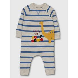 Grey & Blue Stripe Dinosaur Sweat Romper