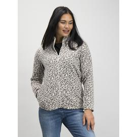 Beige Leopard Zip Through Fleece