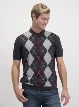 Charcoal Grey & Burgundy Argyle Polo Shirt