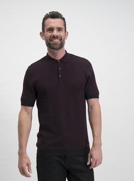 Oxblood Knitted Polo Shirt