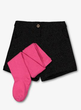 Black Party Shorts & Pink Tights