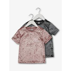 Pink & Grey Velour Short-Sleeved Tops