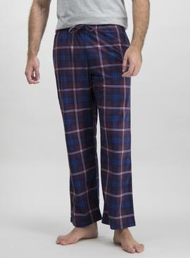 Purple Check Fleece Pyjama Bottoms