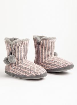 Multicoloured Knitted Faux Fur Slipper Boots with Pom-Poms