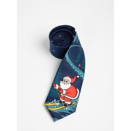 Christmas Navy Santa Claus Print Tie - One Size